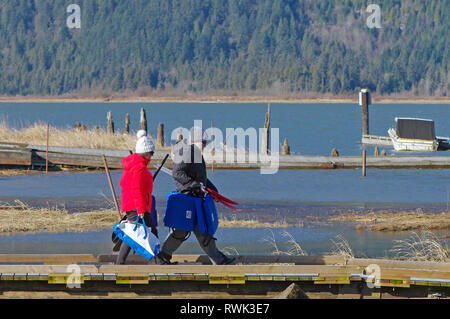 Middle aged couple in winter clothing walking with life jackets and kayak paddles along a pier in Grant Narrows Regional Park, B. C., Canada. - Stock Image