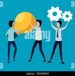 businessmen teamwork with gears and bulb idea - Stock Image