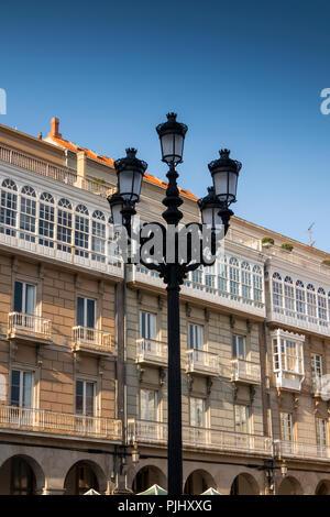 Spain, Galicia, A Coruna, Praza de María Pita, Maria Pita square, street lamp - Stock Image