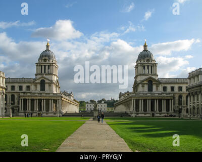 The Old Naval College, Greenwich, London, England. Designed by Sir Christopher Wren, part of Maritime Greenwich and a World Heritage Site. - Stock Image