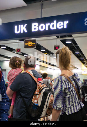 UK Border control at an airport in Britain - Stock Image