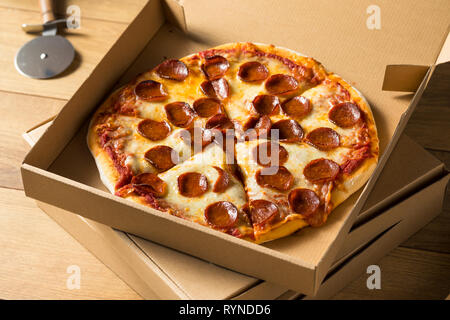 Take Out Pizza in a Box Ready to Eat - Stock Image
