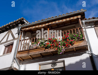 Traditional balcony in Villanueva de la Vera, Caceres, Extremadura, Spain - Stock Image