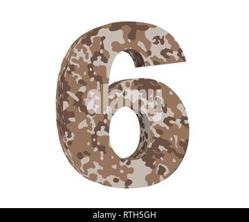 3D rendering Camouflage number 6 six. 3D render Illustration. - Stock Image