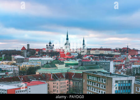 Aerial view old town at cloudy sunset, Tallinn, Estonia - Stock Image