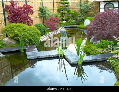 Traditional Japanese water garden with plants, shrubs, rocks, Tea House and stone bridge - Stock Image