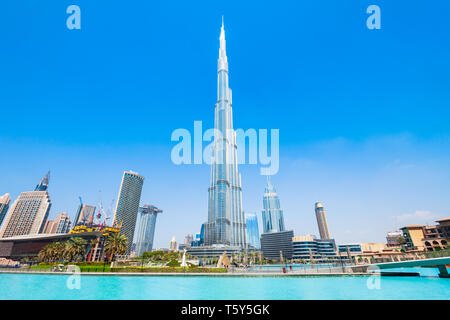 DUBAI, UAE - FEBRUARY 26, 2019: Burj Khalifa or Khalifa Tower is a skyscraper and the tallest building in the world in Dubai, UAE - Stock Image
