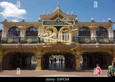 A large 20th anniversary display at Disneyland Paris - Stock Image
