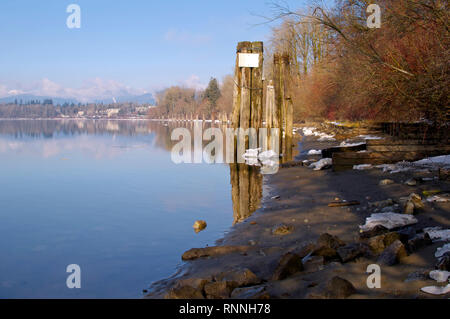 Fraser river shoreline in winter.  From Kanaka Creek Park which runs alongside the river in Maple Ridge, British Columbia, Canada - Stock Image