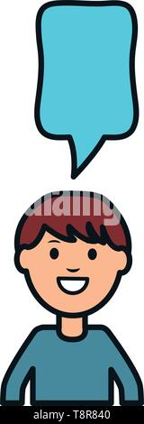young man with speech bubble avatar character vector illustration design - Stock Image