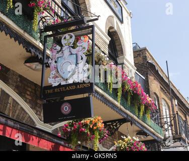 The Rutland Arms Pub sign Hammersmith London - Stock Image