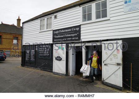 Price of fish outside the Leigh Fishermans Co-op: Leigh on Sea, Essex. - Stock Image
