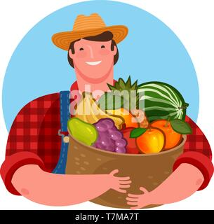 Farmer holding a basket of fresh fruit. Natural product, food vector illustration - Stock Image