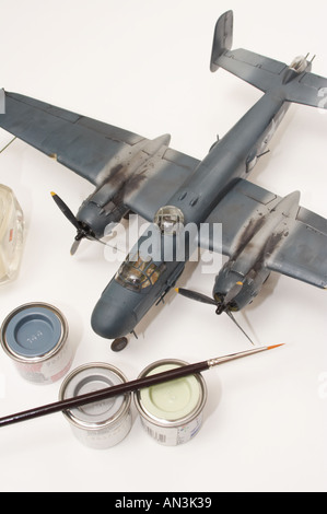 Aviation plastic model isolated on white - Stock Image