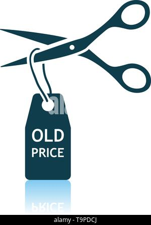 Scissors Cut Old Price Tag Icon. Shadow Reflection Design. Vector Illustration. - Stock Image
