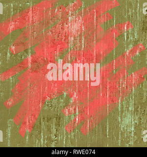 Pantone color colour of the year living coral moss green earth tones high resolution background textured peeling paint splatters splashes graffiti - Stock Image