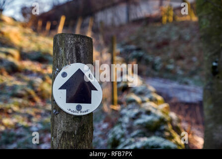 Sign for Green Lane near Dove Holes. Peak District National Park, Derbyshire, England. - Stock Image