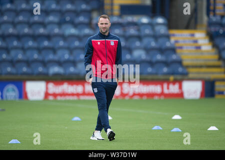 Starks Park, Kirkcaldy, UK. 13th July, 2019. Scottish League Cup football, Raith Rovers versus Dundee; Dundee manager James McPake inspects the pitch before the match Credit: Action Plus Sports/Alamy Live News - Stock Image
