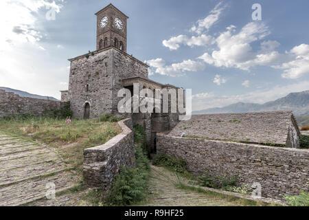 Clock Tower Gjirokasta Castle Albania - Stock Image