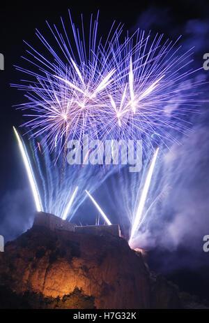 Wonderful firework at San Leo' s castle,italy - Stock Image