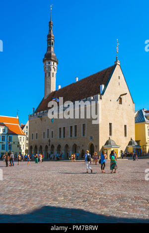 Tallinn Old Town Hall, view in summer of the Town Hall and main square in the medieval Old Town quarter in Tallinn, Estonia. - Stock Image