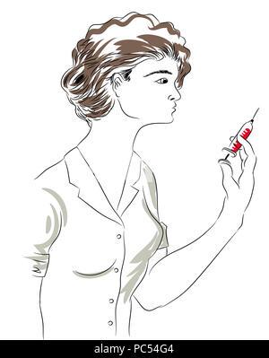 Nurse and needle.  beautiful nurse holding a needle. - Stock Image