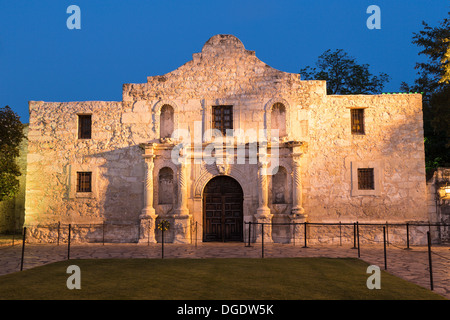 The Alamo at dusk San Antonio Texas USA - Stock Image