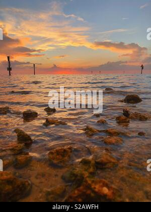 Low tide in Hudson Beach, Florida - Stock Image