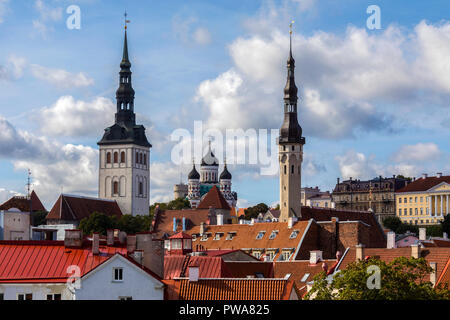 Skyline of Tallinn in Estonia. The three churches are - St Nicholas Church, Alexander Nevsky Cathedral and the Church of the Holy Spirit. - Stock Image