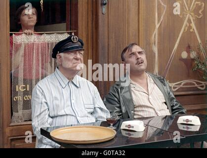 Jean Gabin, Jacques Marin and Eric Damain / The Black Flag Waves Over the Scow / 1971 directed by Michel Audiard - Stock Image