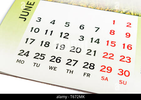 Wall Calendar June top view. Your may mark any day. Copy space for message - Stock Image