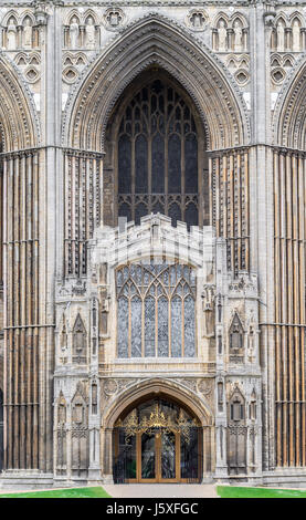 Entrance door at the west facade of the medieval christian cathedral at Peterborough England. - Stock Image
