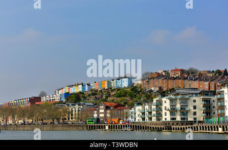 Looking at Bristol housing in Clifton Wood, Hotwells and Canon's Marsh from Bristol harbourside - Stock Image