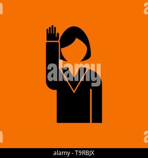 Voting Lady Icon. Black on Orange Background. Vector Illustration. - Stock Image