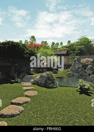 Japanese Garden with Tea House and Pond - Stock Image
