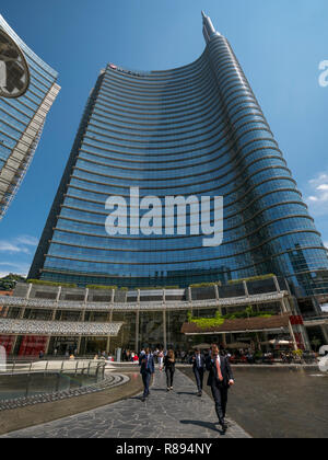 Vertical view of the UniCredit Tower in Milan, Italy. - Stock Image