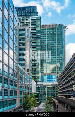 Silk Street,Barbican,on right,London,England,UK - Stock Image