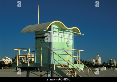 Miami Florida FL South Beach Green Life Guard House - Stock Image