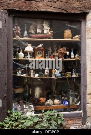 Curiocity shop window, Tarn region southern France - Stock Image