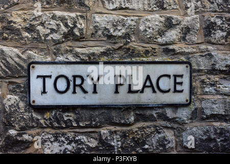 Tory Place street name sign fixed to a wall in Bradford on Avon Wiltshire - Stock Image