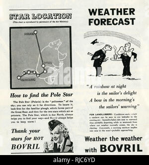 Two Bovril advertisements which appeared during the Second World War. - Stock Image