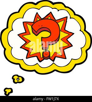 freehand drawn thought bubble cartoon question mark - Stock Image