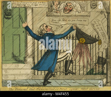 Wellington demands attention outside a house, while Duke of Argyll, inside with Harriette Wilson, pretends not to - Stock Image