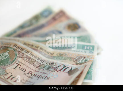 Northern Ireland £10 sterling notes from various issuing banks. - Stock Image