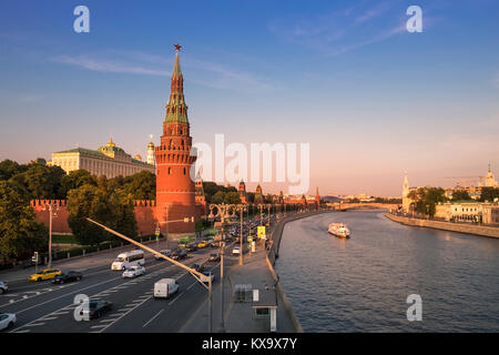 Cityscape view of Vodovzvodnaya Tower on the south western side of the Kremlin, overlooking the Moscow River, Moscow, - Stock Image