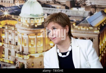 First Minister Nicola Sturgeon during a visit to Tay House, Glasgow, where she met with EU nationals working at the University of Glasgow ahead of next week's European election. - Stock Image
