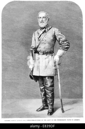 General Robert Edmund Lee Commander in chief Confederate States of America Army 1864 - Stock Image