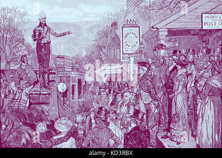 Andrew Jackson as President-elect on his way to Washington, 1829. Seventh President of the United States. Illustration - Stock Image
