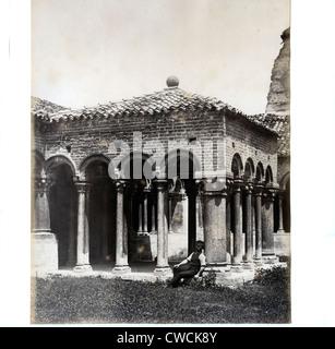 Cloister of San Zeno, Verona, Italy ca 1860, by Maurizio Lotze - Stock Image