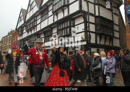 Rochester, Kent, UK. 1st December 2018: The Lord Mayor of Medway Cllr Steve Iles leads the parade on the High Street at noon. Hundreds of people attended the Dickensian Festival in Rochester on 1 December 2018. The festival's main parade has participants in Victorian period costume from the Dickensian age. The town and area was the setting of many of Charles Dickens novels and is the setting to two annual festivals in his honor. Photos: David Mbiyu/ Alamy Live News - Stock Image